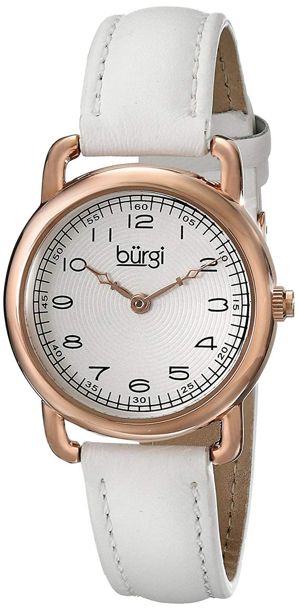 Burgi Women's BUR121WTR Classic Two-hand Rose Gold & White Leather Strap Watch - Bhe Accessories