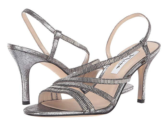Nina Womens Silver Amani Slingback Strap Sandals - Bhe Accessories