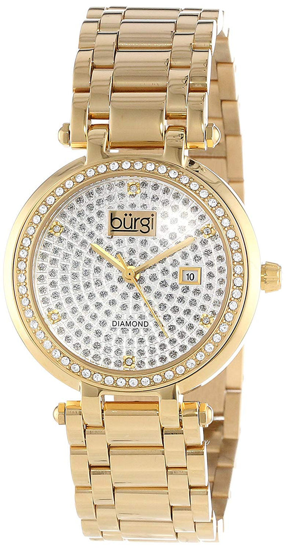Burgi Women's Swiss Quartz Stainless Steel Dress Watch, Color:Gold-Toned (Model: BUR078YG) - Bhe Accessories