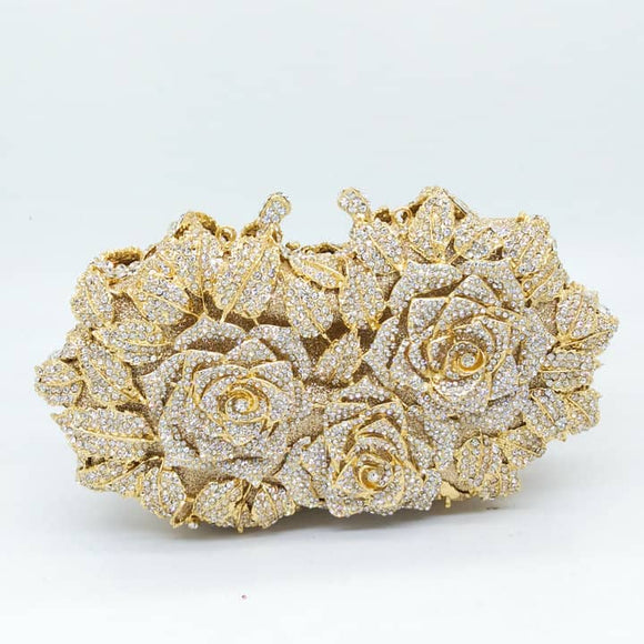 Gold Crystal Rose Flower Clutch