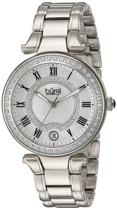 Burgi Women's White Mother-of-Pearl Dial with Swarovski Crystal Accents and Silver-Tone Stainless Steel Bracelet Watch BUR165SS - Bhe Accessories