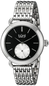 Burgi Women's BUR153SSB Silver Multifunction Quartz Watch With Black Dial and Silver Bracelet - Bhe Accessories