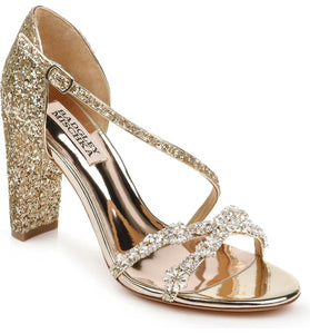 Badgley Mischka Omega Crystal Platino Glitter Embellished Sandal - Bhe Accessories