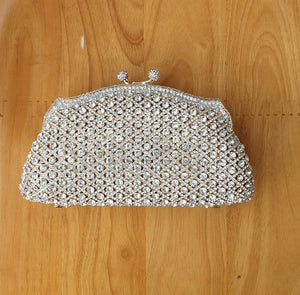Sparkling Gold Casing Clear Crystal Clutch - Bhe Accessories