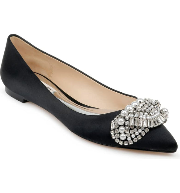 Badgley Mischka Octavia Crystal Embellished Skimmer Flat - Bhe Accessories