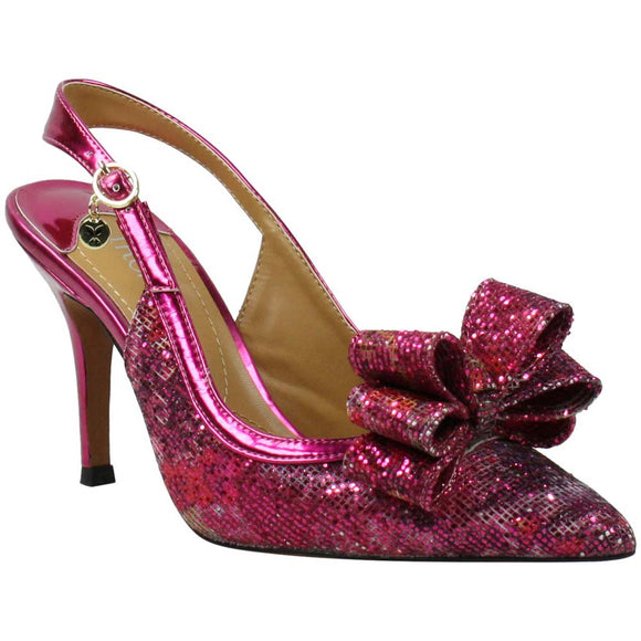 J. Renee Charise Bow Pointed Toe Charise Fuchsia Pink Slingback Pump - Bhe Accessories
