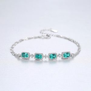 Emerald Stone Sterling Bracelet - Bhe Accessories