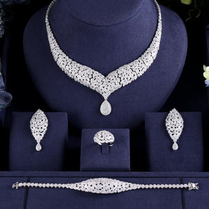 Luxury Crystal AAA Cubic Zirconia Necklace Earring Bracelet Ring Jewellery Set - Bhe Accessories