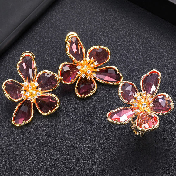 Flower Petals AAA Cubic Zirconia Shape Earring And Ring Set - Bhe Accessories
