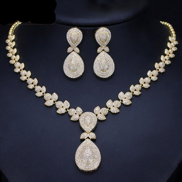Noble Pave Cubic Zirconia Necklace Earrings Jewellery Set - Bhe Accessories