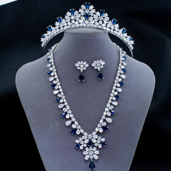 Cubic Zirconia Bridal Tiara and Necklace Earring Jewelry Set - Bhe Accessories