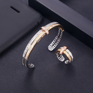 Elegant AAA Cubic Zirconia Bangle And Ring Set - Bhe Accessories