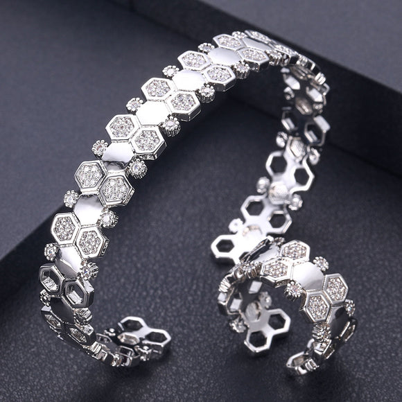 Round Crystal Cubic Zirconia Bangle Ring Set - Bhe Accessories