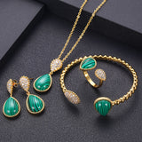 Oval Cubic Zirconia Necklace Pendant Earring Bangle Ring Jewellery Set (Pure Gold Color) - Bhe Accessories