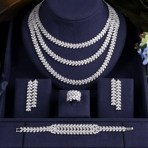Matinee Cubic Zirconia Necklace Earrings Bracelet Ring Jewellery Set - Bhe Accessories