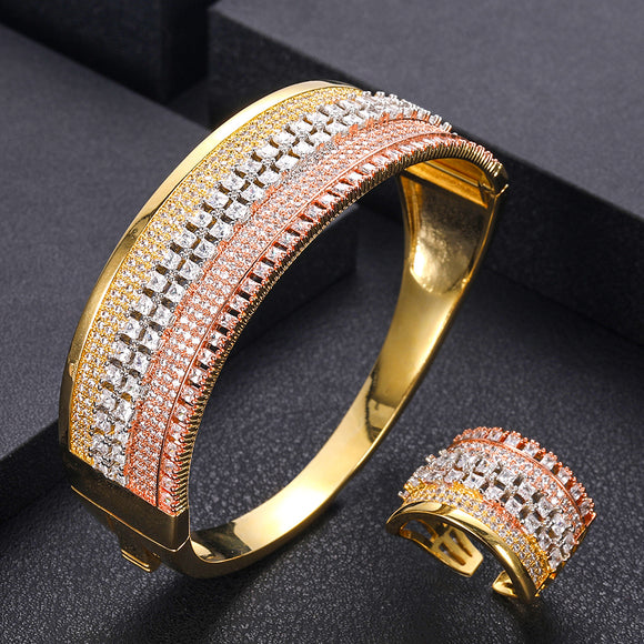 Unique Crystal Cubic Zirconia Bangle Ring Set Jewelry Set - Bhe Accessories