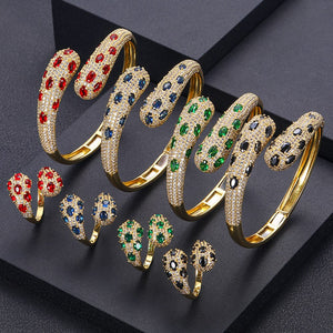 Unique Crystal Cubic Zirconia Bangle Ring Set - Bhe Accessories