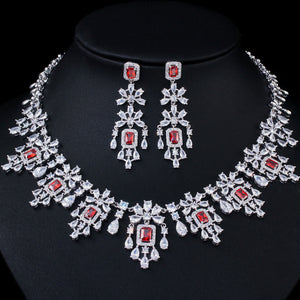 Shiny Cubic Zirconia Round Drop Red Necklace Earrings Jewellery Set - Bhe Accessories