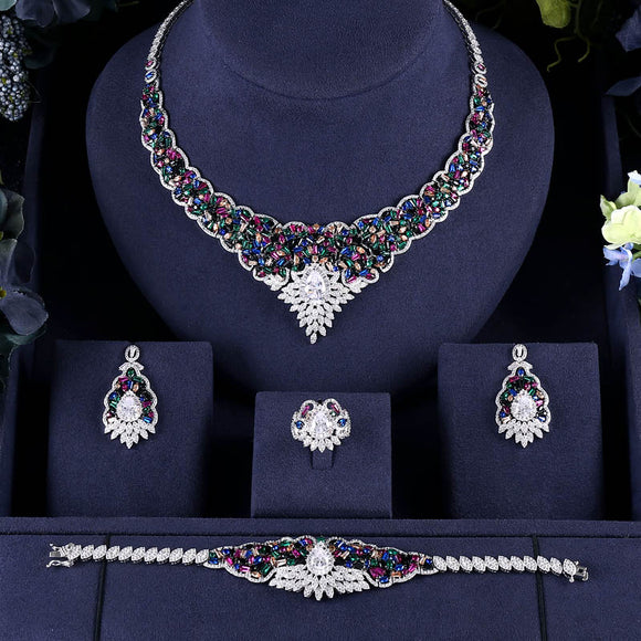 Antique Sapphire Cubic Zirconia Necklace Earring Bracelet Ring Jewellery Set - Bhe Accessories