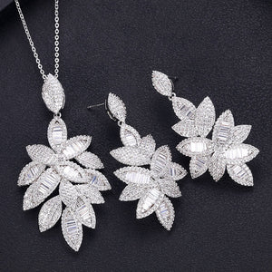 Leaf Shape Cubic Zirconia Pendant Necklace Earring Set - Bhe Accessories