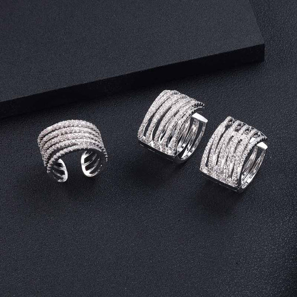 Geometric Twist Cubic Zirconia Earring Ring Set - Bhe Accessories