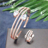 Round Shape Cubic Zirconia Bangle Ring Jewellery Set - Bhe Accessories