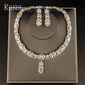 Brilliant Crystal Cubic Zirconia Earrings Necklace Jewellery Set - Bhe Accessories