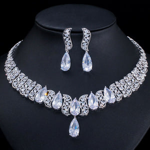 Shiny Cubic Zirconia Paved Big Waterdrop Necklace Earrings Jewellery Set - Bhe Accessories