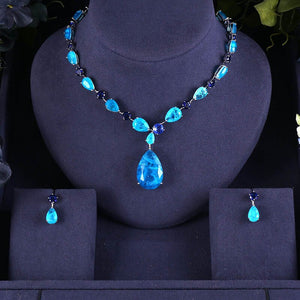Multicolour Stones Cubic Zirconia Necklace Earring Jewellery Set - Bhe Accessories