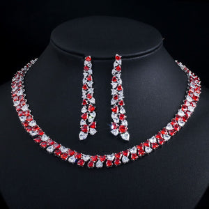 Heart Shape Red Cubic Zirconia Round Choker Necklace Jewellery Set - Bhe Accessories