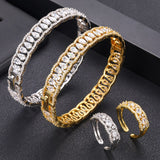 Geometric Designed Crystal Cubic Zirconia Bangle Ring Set - Bhe Accessories