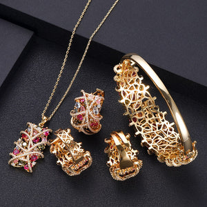 Entwined Cubic Zirconia  Necklace Pendant Earring Bangle Ring Set - Bhe Accessories