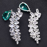 Flower Pattern AAA Cubic Zirconia Earring Set - Bhe Accessories