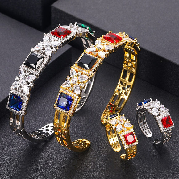 Multi Colored Cuff Cubic Zirconia Bangle Ring Set - Bhe Accessories