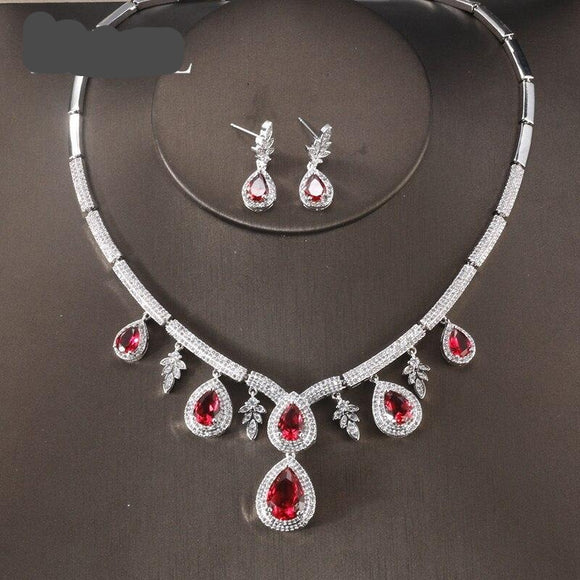 Water Drop Leafy Cubic Zirconia Stone Earrings Necklace Jewellery Set - Bhe Accessories