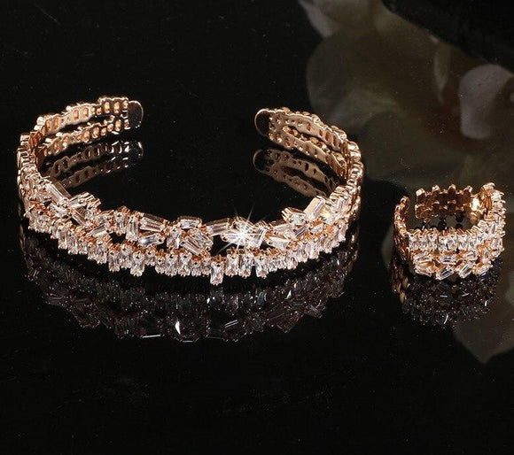 Baguette Cubic Zirconia Cuff Bangle Ring Jewellery Set - Bhe Accessories