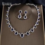 Oval Cubic Zirconia Necklace Earrings Two Pieces Jewellery Set - Bhe Accessories
