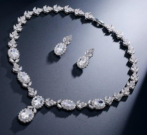 Oval Cubic Zirconia Necklace Earrings Jewellery Set - Bhe Accessories