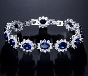 Exquisite Oval Blue Cubic Zirconia Micro Inlay 4 Pieces Jewellery Set - Bhe Accessories