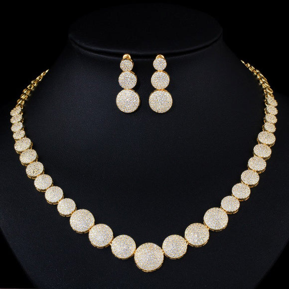 Glitter Yellow Gold Cubic Zirconia Necklace Earrings Jewellery Set - Bhe Accessories