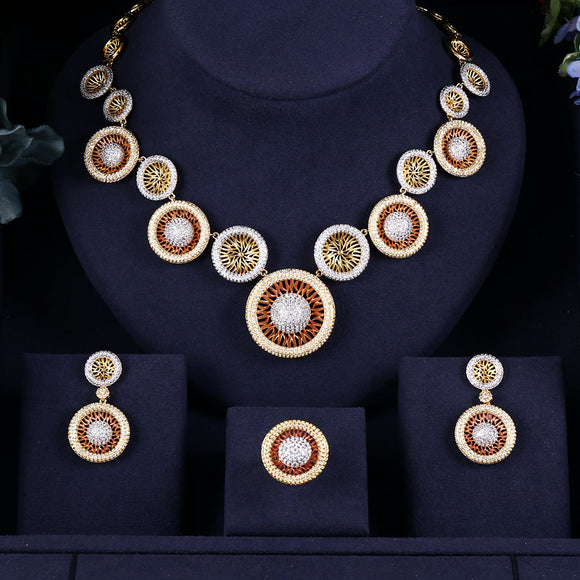 3-Tone Round Shaped Cubic Zirconia Necklace Earring Ring Jewellery Set - Bhe Accessories
