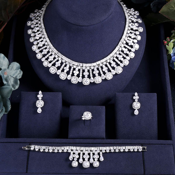 Waterdrop Choker Crystal Necklace Earrings Bracelet Ring Set - Bhe Accessories