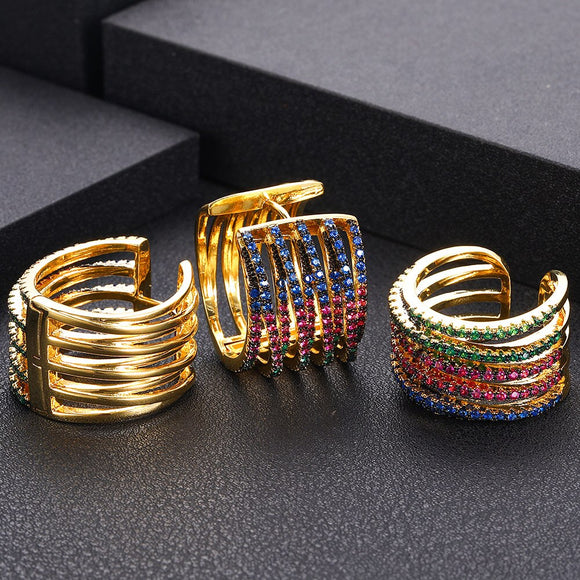 Braided Multicolor Cubic Zirconia Earring Ring Set - Bhe Accessories