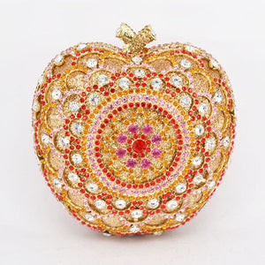 Apple Shaped Crystal Clutch Purse in 4 Colours - Bhe Accessories