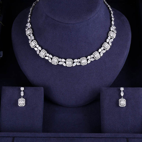 Rivera Collier Crystal Cubic Zirconia Necklace Earring Set - Bhe Accessories