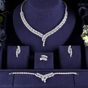 Silver Bridal Micro Paved Cubic Zirconia 4 Piece Jewelry Sets - Bhe Accessories