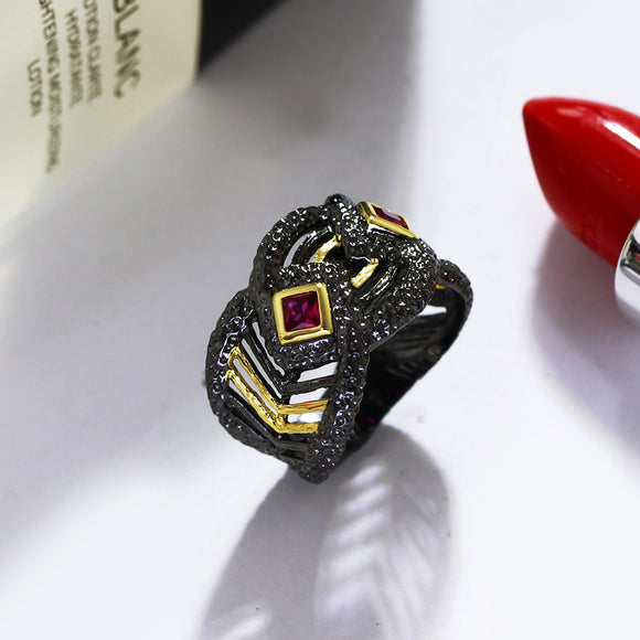 Vintage Womens Black Ring Jewellery - Bhe Accessories
