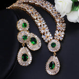 Yellow Gold Green Cubic Zirconia Bead Necklace Earrings Jewellery Set - Bhe Accessories
