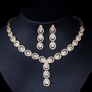 Pave Cubic Zirconia Necklace Earrings Jewellery Set - Bhe Accessories