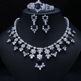 BRILLIANT CUBIC ZIRCONIA EARRINGS, NECKLACE, BRACELET JEWELRY SET - Bhe Accessories